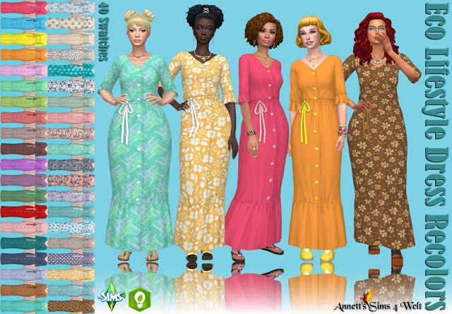Sims 4 Eco Lifestyle Dress Recolors at Annett's Sims 4 Welt
