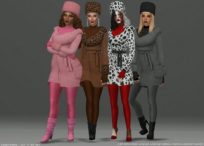 Sims 4 LET IT GO SET: coat, hat, pants & bodysuit at Candy Sims 4