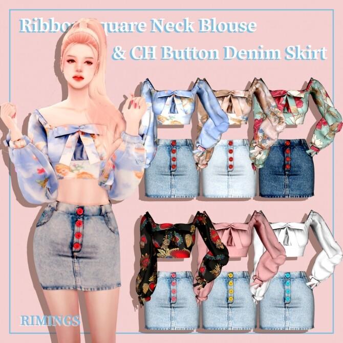 Ribbon Square Neck Blouse & Button Denim Skirt at RIMINGs image 2522 670x670 Sims 4 Updates