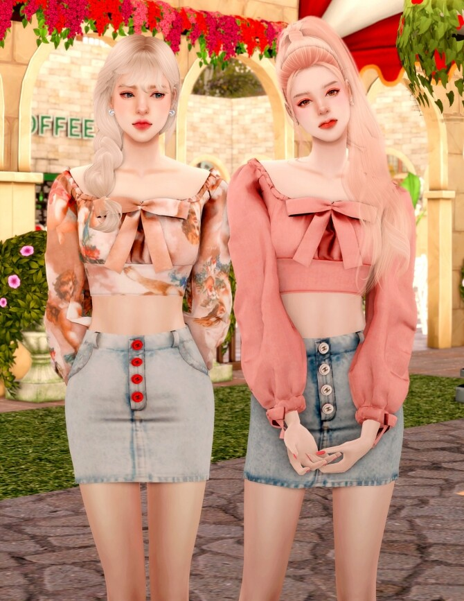 Ribbon Square Neck Blouse & Button Denim Skirt at RIMINGs image 2531 670x867 Sims 4 Updates