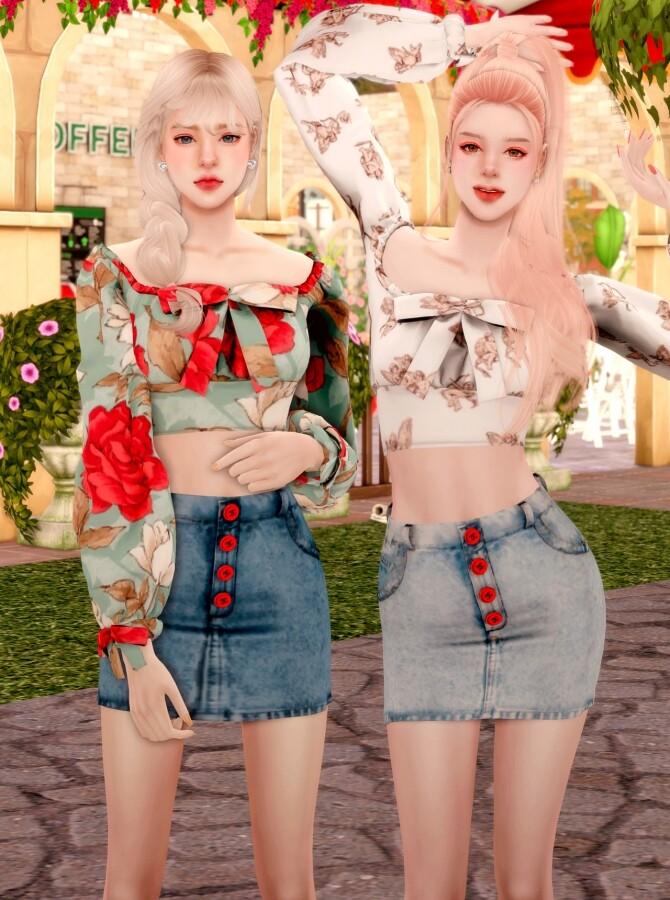 Ribbon Square Neck Blouse & Button Denim Skirt at RIMINGs image 2541 670x900 Sims 4 Updates