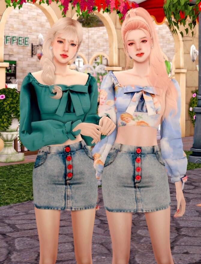 Ribbon Square Neck Blouse & Button Denim Skirt at RIMINGs image 2551 670x883 Sims 4 Updates