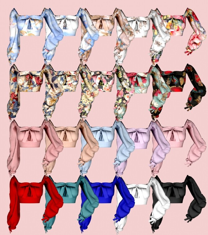 Ribbon Square Neck Blouse & Button Denim Skirt at RIMINGs image 2571 670x758 Sims 4 Updates