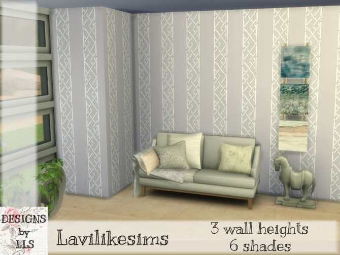 Sims 4 Lattice Stripe Wallpaper by lavilikesims at TSR