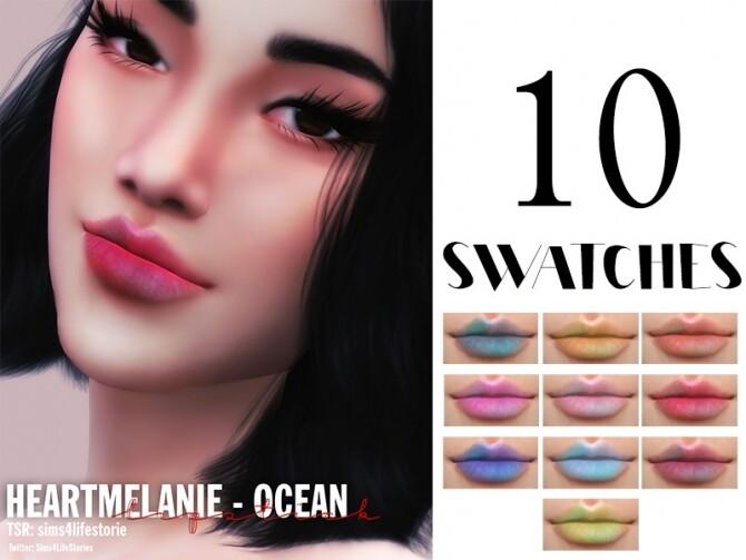 Sims 4 OCEAN LipStick HEART MELANIE by Sims4LifeStories at TSR