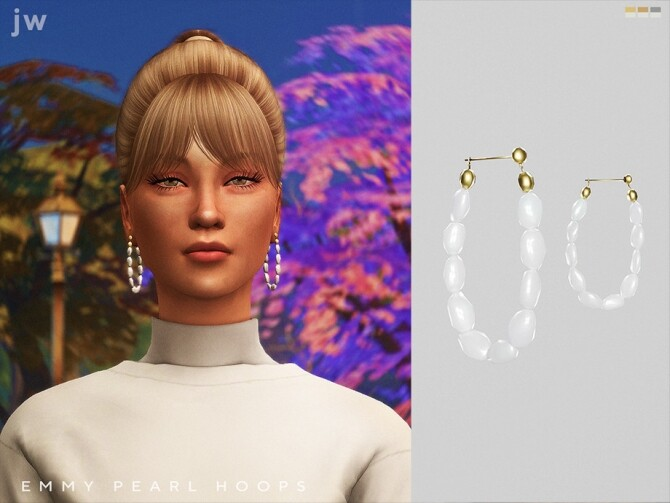 Sims 4 Emmy Pearl Hoops by  jwofles sims at TSR