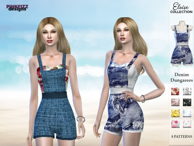 Sims 4 Eloise Denim Dungarees PF121 by Pinkfizzzzz at TSR