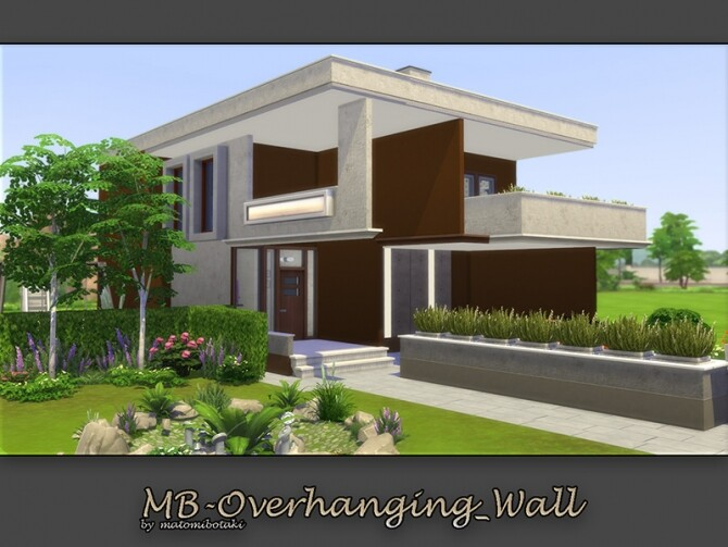 Sims 4 MB Overhanging Wall House by matomibotaki at TSR