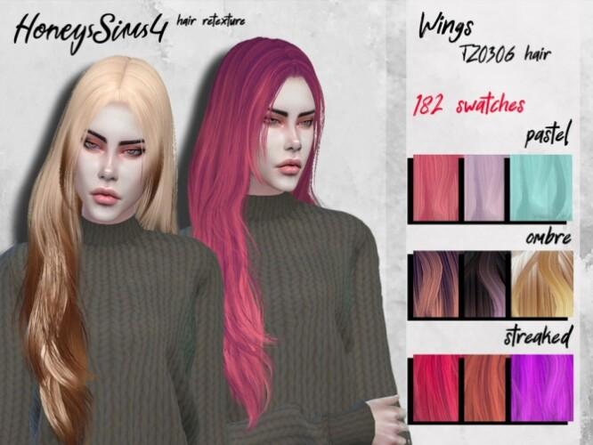 Female hair retexture Wings TZ0306 by HoneysSims4