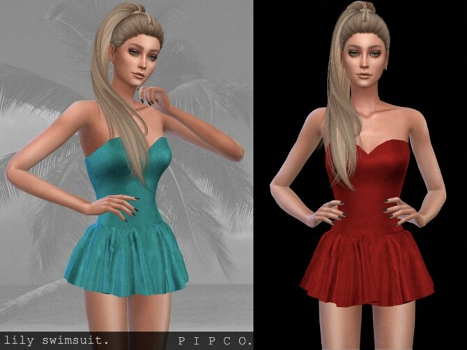 Lily swimsuit with skirt by Pipco at TSR image 366 670x503 Sims 4 Updates