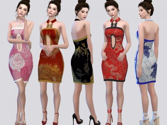 Sims 4 Collar QiPao Dress by McLayneSims at TSR