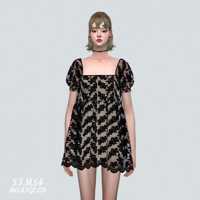 See through Lace Mini Dress at Marigold image 39 670x670 Sims 4 Updates