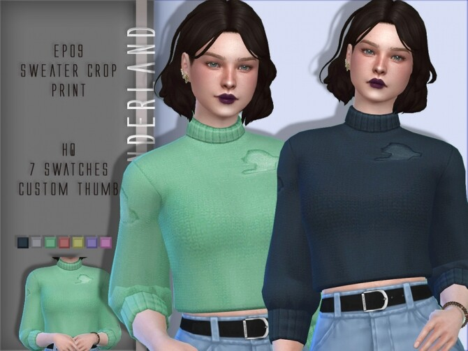Sims 4 EP09 Sweater Crop Print Separated by PlayersWonderland at TSR
