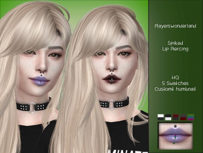 Spiked Lip Piercing by PlayersWonderland at TSR image 413 670x503 Sims 4 Updates