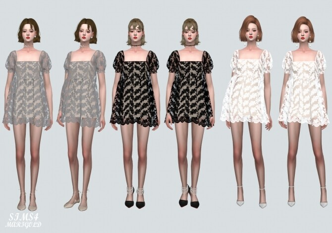 See through Lace Mini Dress at Marigold image 42 670x471 Sims 4 Updates