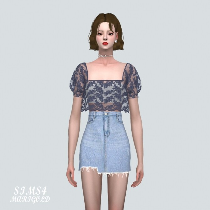 See through Lace Crop Blouse at Marigold image 43 670x670 Sims 4 Updates