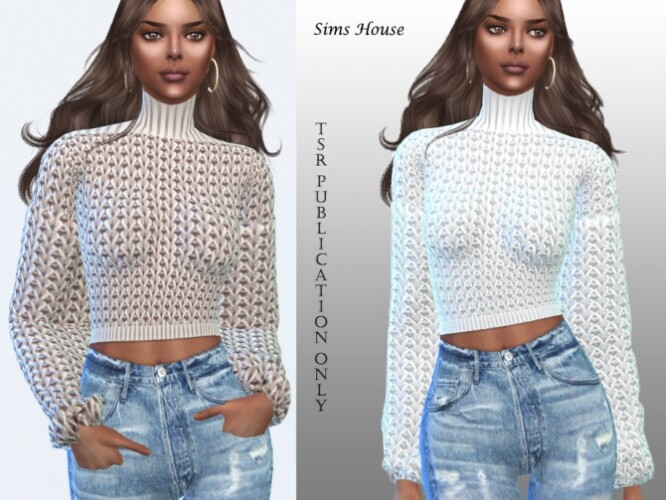 Sweater with a collar and wide sleeves by Sims House