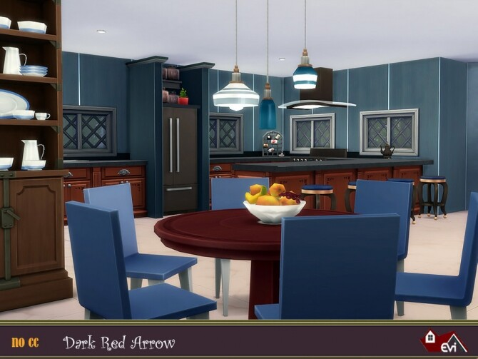 Sims 4 Dark Red Arrow Home by evi at TSR