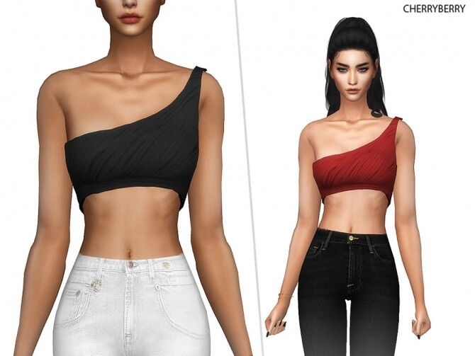 Sims 4 Laura One Shoulder Top by CherryBerrySim at TSR