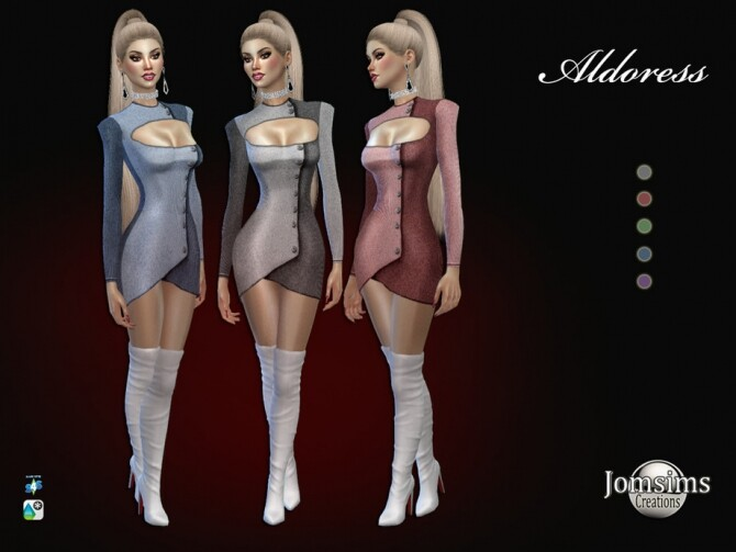 Sims 4 Aldoress dress by  jomsims at TSR