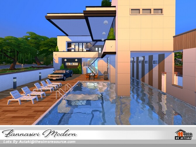 Sims 4 Bannasiri Modern House NoCC by autaki at TSR