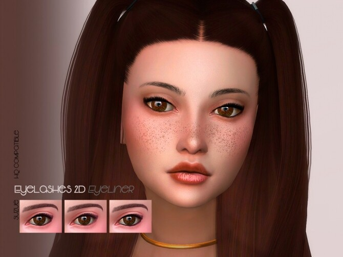 Sims 4 2D Eyelashes Eyeliner by Suzue at TSR