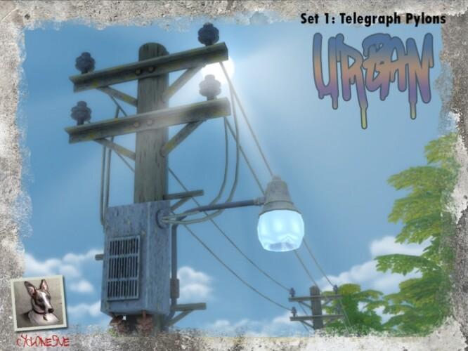 Urban Set 1 Telegraph Pylons by Cyclonesue
