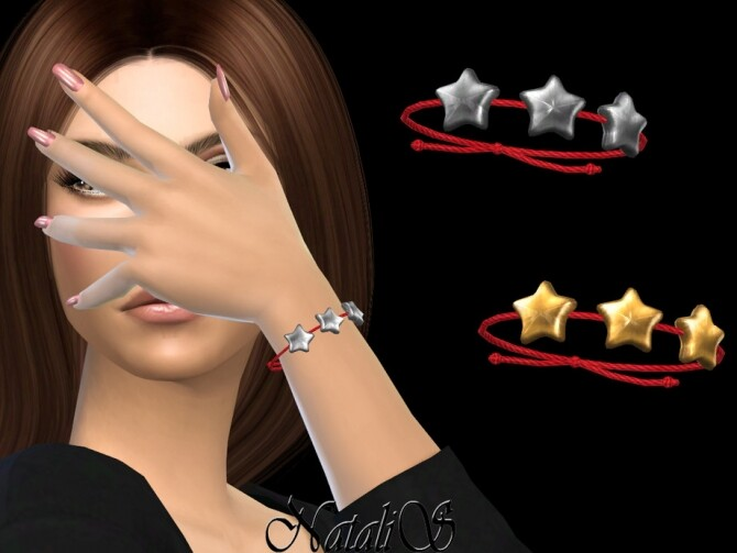 Sims 4 Flat star string bracelet by NataliS at TSR