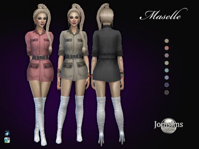 Sims 4 Maselle dress by jomsims at TSR
