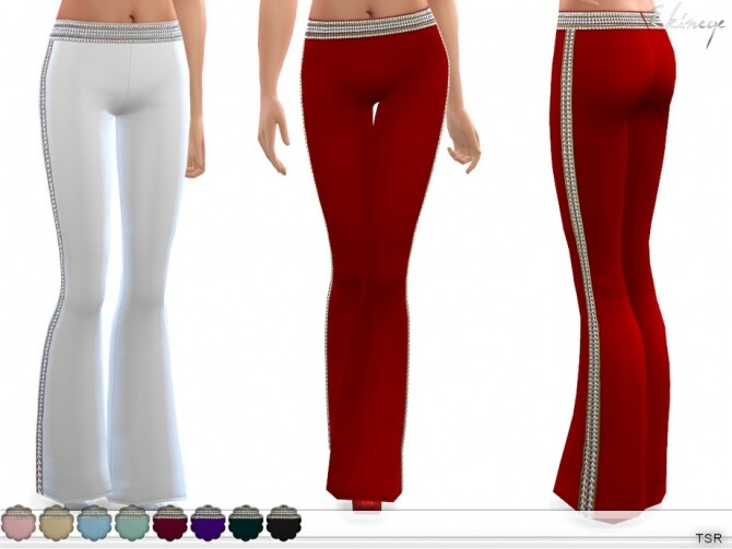Sims 4 Embellished Flared Trousers by ekinege at TSR