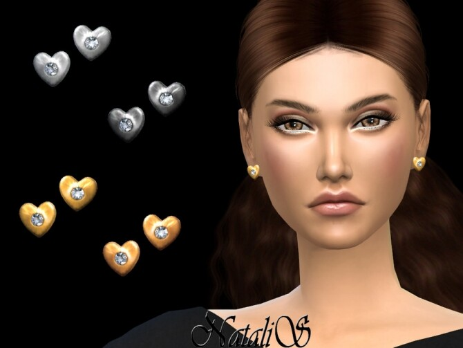 Sims 4 Diamond heart stud earrings by NataliS at TSR