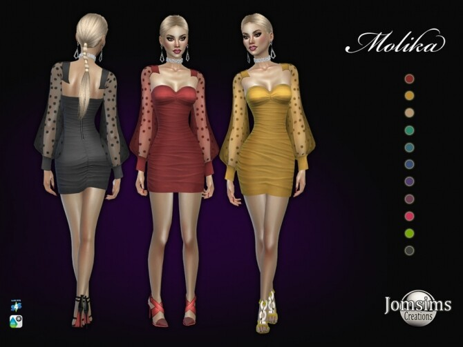 Sims 4 Molika dress by jomsims at TSR