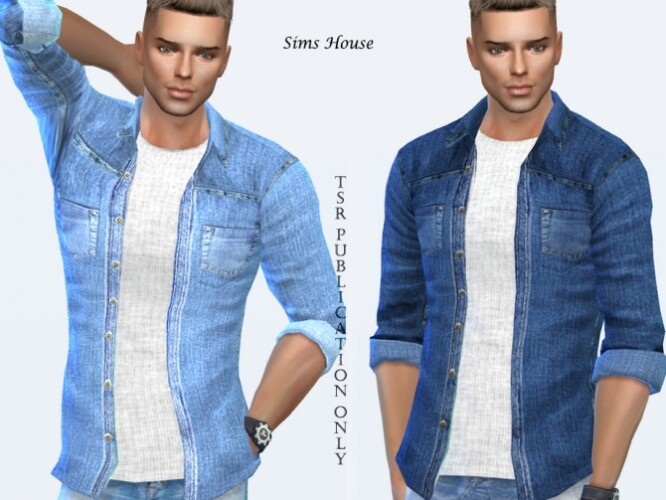 Men denim shirt with a t-shirt by Sims House