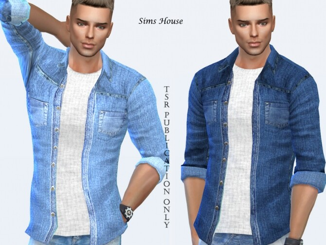 Sims 4 Mens denim shirt with a t shirt by Sims House at TSR