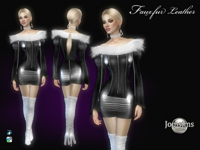 Sims 4 Fauxfur leather dress by  jomsims at TSR