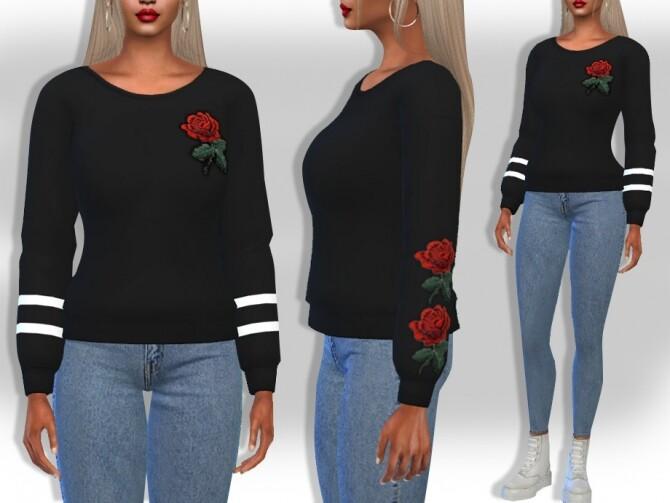 Sims 4 Rose Applique Sweats by Saliwa at TSR