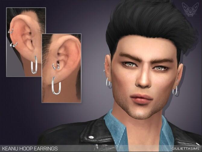 Sims 4 Keanu Hoop Earrings For Men by feyona at TSR