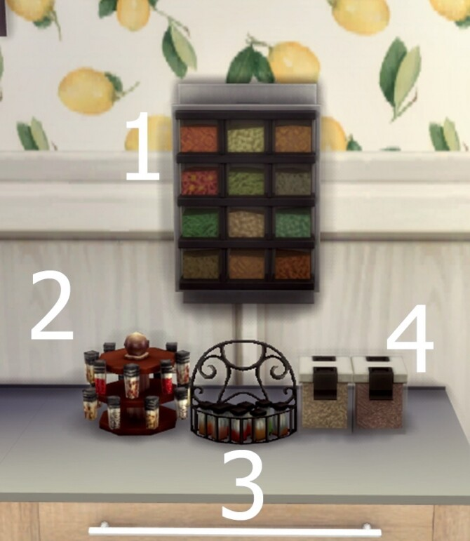 Sims 4 Functional Spice Racks by FlowerBunny at Mod The Sims