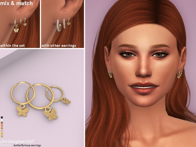 Sims 4 Butterfly Hoop Earrings by Christopher067 at TSR