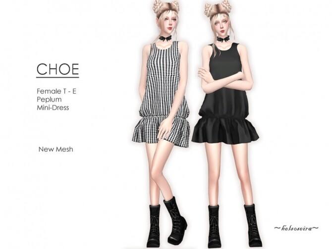 Sims 4 CHOE Peplum Mini Dress by Helsoseira at TSR