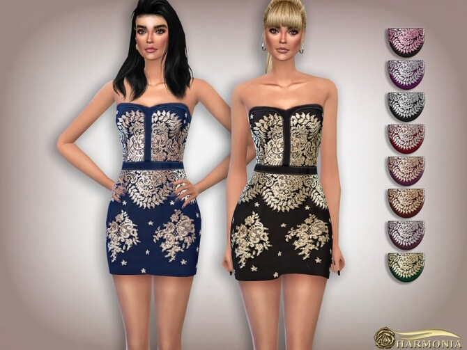 Sims 4 Lace Embroidery Cocktail Dress by Harmonia at TSR