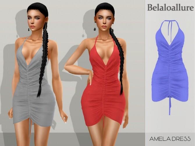 Sims 4 Belaloallure Amela dress by belal1997 at TSR