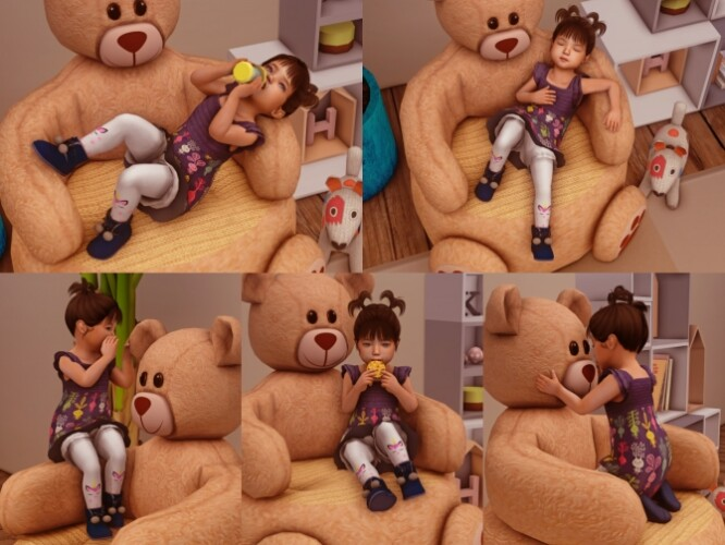 Teddy Bear Chair poses for Toddlers