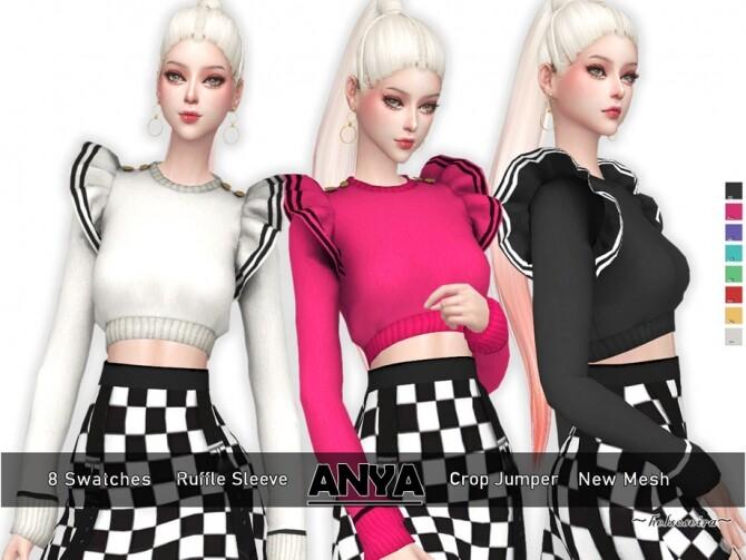 Sims 4 ANYA Ruffle Sleeve Jumper by Helsoseira at TSR