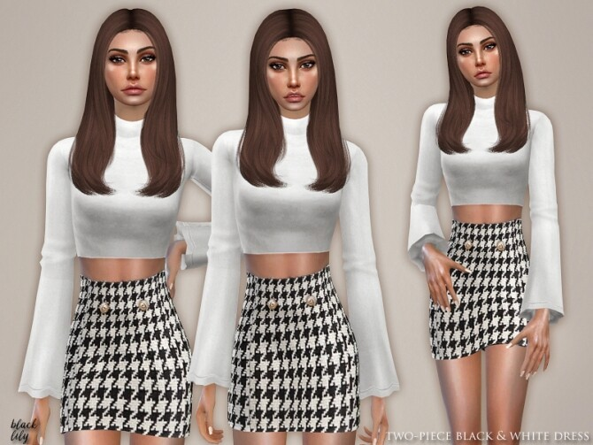 Two Piece Black & White Dress by Black Lily at TSR image 659 670x503 Sims 4 Updates