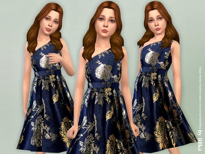 Sims 4 Navy One Shoulder Dress by lillka at TSR
