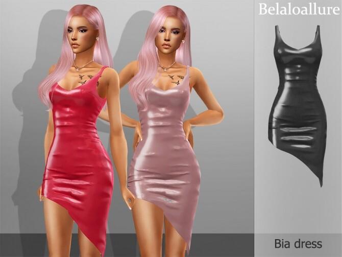 Sims 4 Bia asymmetrical latex dress by belal1997 at TSR