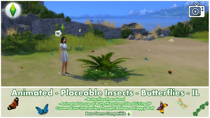 Animated Placeable Insects Butterflies by Bakie