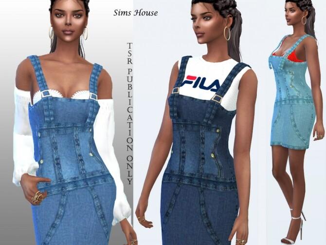 Sims 4 Denim short sundress by Sims House at TSR