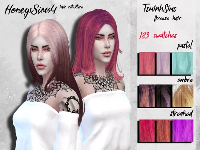 Sims 4 Female hair retexture TsminhSims Breeze by HoneysSims4 at TSR